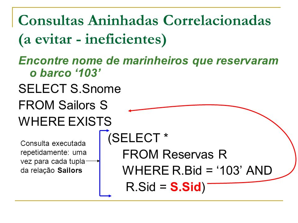 Consultas Aninhadas Correlacionadas (a evitar - ineficientes) Encontre nome de marinheiros que reservaram o barco 103 SELECT S.Snome FROM Sailors S WHERE EXISTS (SELECT * FROM Reservas R WHERE R.Bid = 103 AND R.Sid = S.Sid) Consulta executada repetidamente: uma vez para cada tupla da relação Sailors