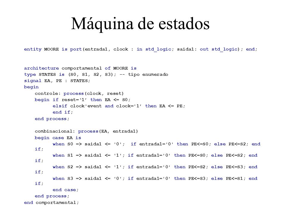 Máquina de estados entity MOORE is port(entrada1, clock : in std_logic; saida1: out std_logic); end; architecture comportamental of MOORE is type STATES is (S0, S1, S2, S3); -- tipo enumerado signal EA, PE : STATES; begin controle: process(clock, reset) begin if reset=1 then EA <= S0; elsif clock event and clock= 1 then EA <= PE; end if; end process; combinacional: process(EA, entrada1) begin case EA is when S0 => saida1 <= 0 ; if entrada1= 0 then PE<=S0; else PE<=S2; end if; when S1 => saida1 <= 1 ; if entrada1= 0 then PE<=S0; else PE<=S2; end if; when S2 => saida1 <= 1 ; if entrada1= 0 then PE<=S2; else PE<=S3; end if; when S3 => saida1 <= 0 ; if entrada1= 0 then PE<=S3; else PE<=S1; end if; end case; end process; end comportamental;