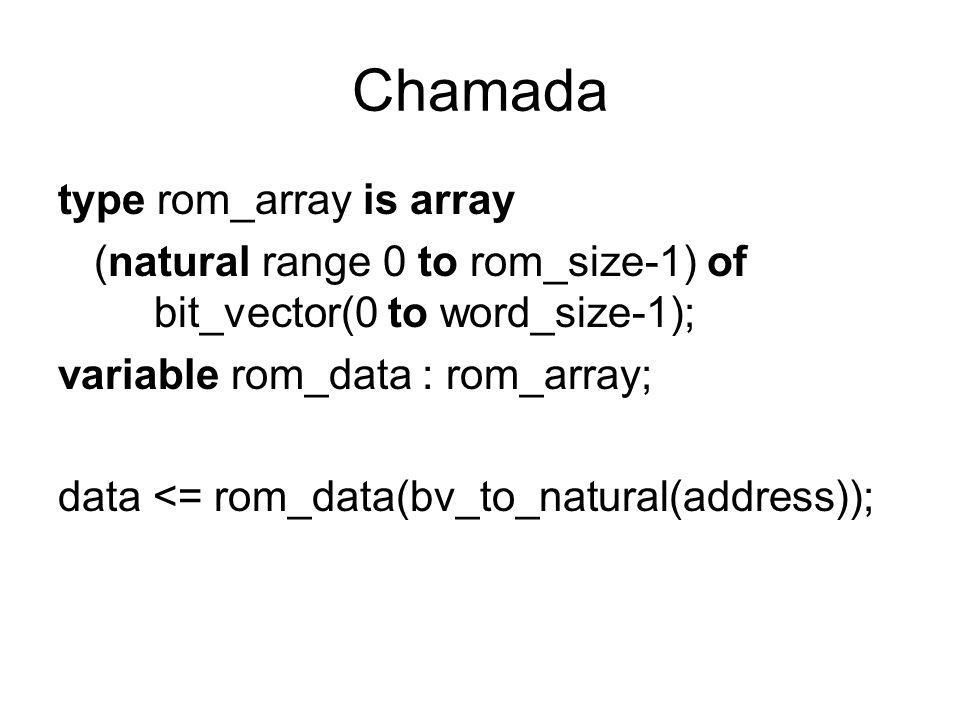 Chamada type rom_array is array (natural range 0 to rom_size-1) of bit_vector(0 to word_size-1); variable rom_data : rom_array; data <= rom_data(bv_to_natural(address));