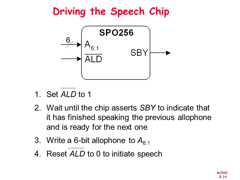 MC Driving the Speech Chip 1.Set ALD to 1 2.Wait until the chip asserts SBY to indicate that it has finished speaking the previous allophone and is ready for the next one 3.Write a 6-bit allophone to A 6:1 4.Reset ALD to 0 to initiate speech