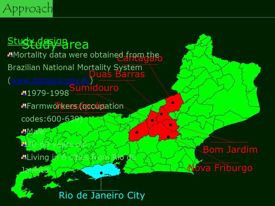 Nova Friburgo Rio de Janeiro City Teresópolis Sumidouro Duas Barras Cantagalo Bom Jardim Study area Study design Mortality data were obtained from the Brazilian National Mortality System ( Farmworkers (occupation codes: ) Male years old Living in 6 cities from Rio de Janeiro Approach
