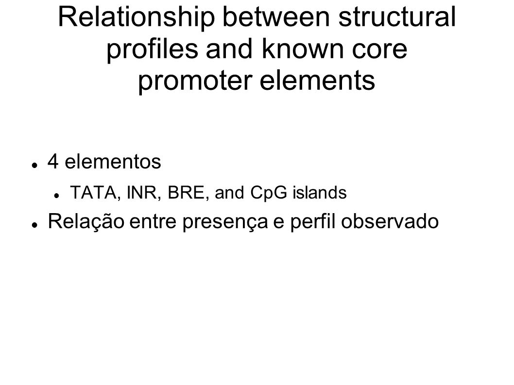 Relationship between structural profiles and known core promoter elements 4 elementos TATA, INR, BRE, and CpG islands Relação entre presença e perfil observado