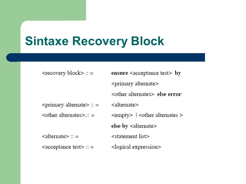 Sintaxe Recovery Block