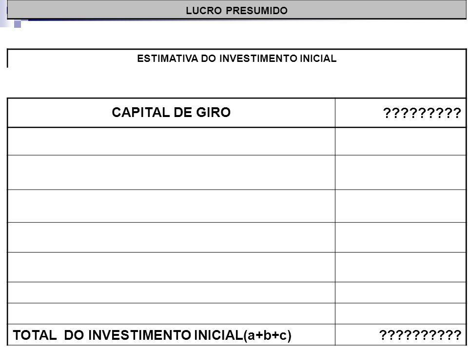 LUCRO PRESUMIDO ESTIMATIVA DO INVESTIMENTO INICIAL CAPITAL DE GIRO .