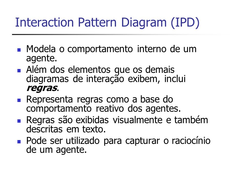 Interaction Pattern Diagram (IPD) Modela o comportamento interno de um agente.