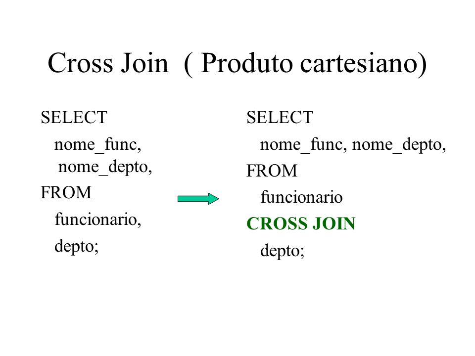 Cross Join ( Produto cartesiano) SELECT nome_func, nome_depto, FROM funcionario, depto; SELECT nome_func, nome_depto, FROM funcionario CROSS JOIN depto;