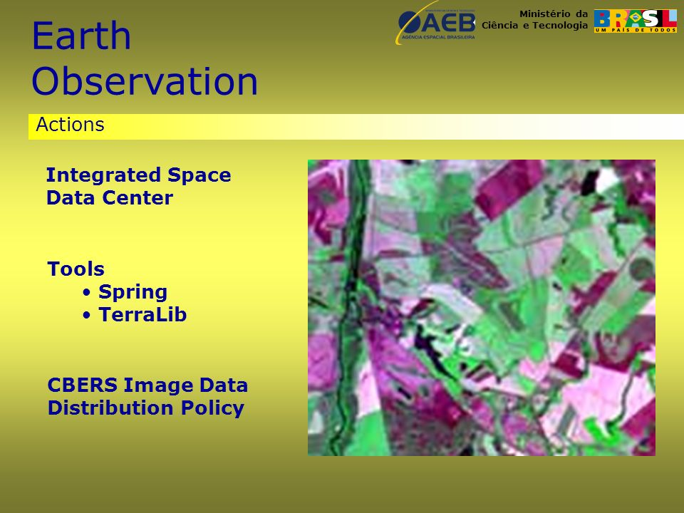 Ministério da Ciência e Tecnologia Actions Integrated Space Data Center Tools Spring TerraLib CBERS Image Data Distribution Policy Earth Observation