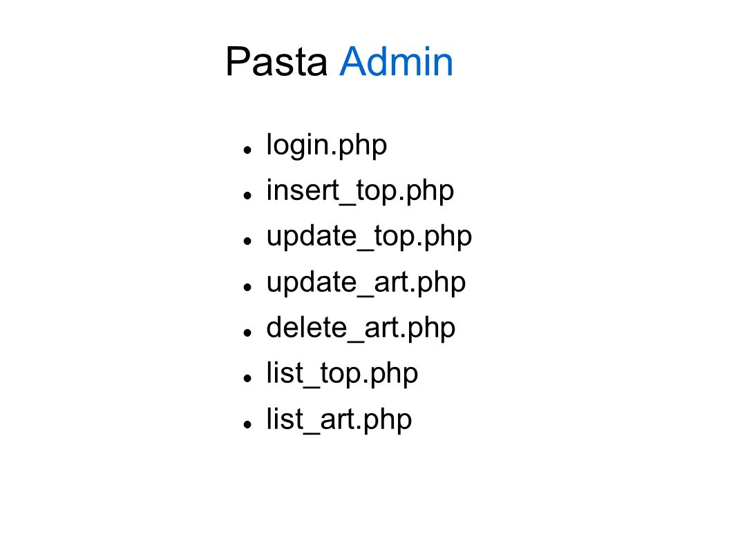 Pasta Admin login.php insert_top.php update_top.php update_art.php delete_art.php list_top.php list_art.php