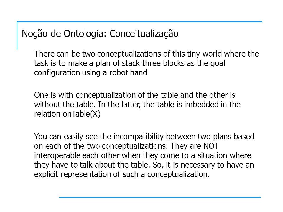 There can be two conceptualizations of this tiny world where the task is to make a plan of stack three blocks as the goal configuration using a robot hand One is with conceptualization of the table and the other is without the table.
