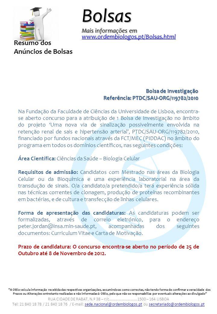 Especial Bolsas Ordem Dos Biólogos Tel Ppt Carregar