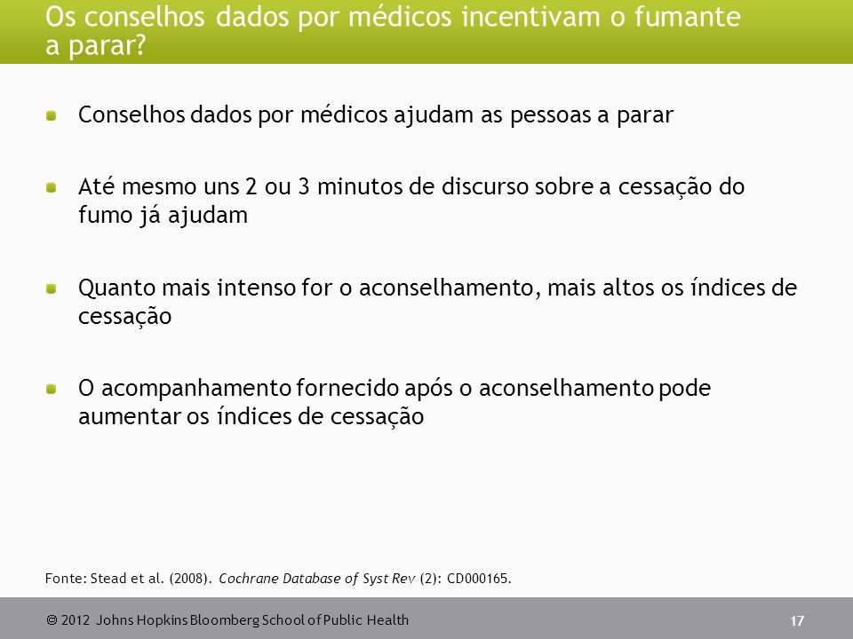 2012 Johns Hopkins Bloomberg School of Public Health Os conselhos dados por médicos incentivam o fumante a parar.