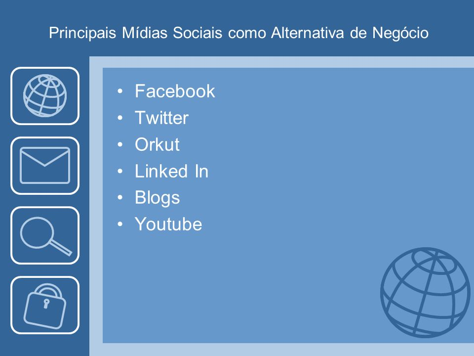 Principais Mídias Sociais como Alternativa de Negócio Facebook Twitter Orkut Linked In Blogs Youtube