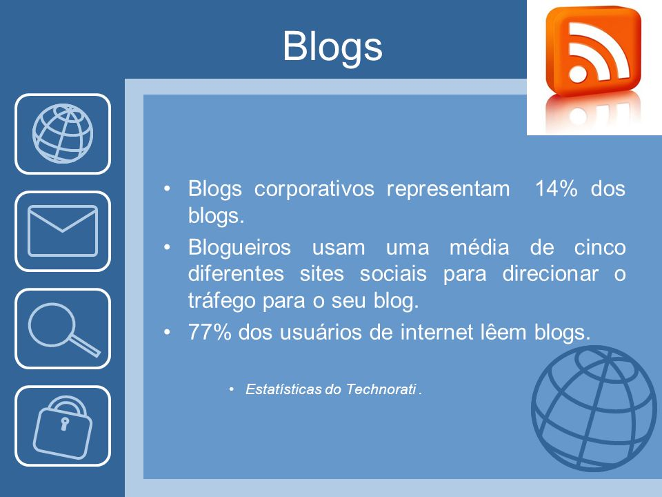 Blogs Blogs corporativos representam 14% dos blogs.