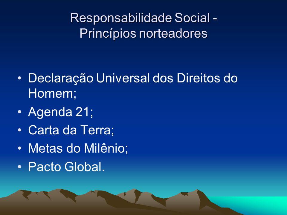 d20f6e953b66d 2 Responsabilidade Social - Princípios norteadores Declaração Universal dos  Direitos do Homem  Agenda 21  Carta da Terra  Metas do Milênio  Pacto  Global.