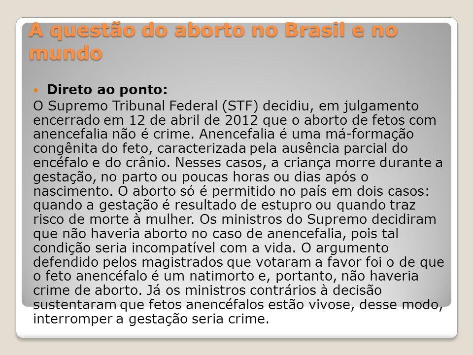 045ebe05ce1de 2 A questão do aborto no Brasil e no mundo Direto ao ponto: O Supremo  Tribunal Federal (STF) decidiu, em julgamento encerrado em 12 de abril de  2012 que o ...