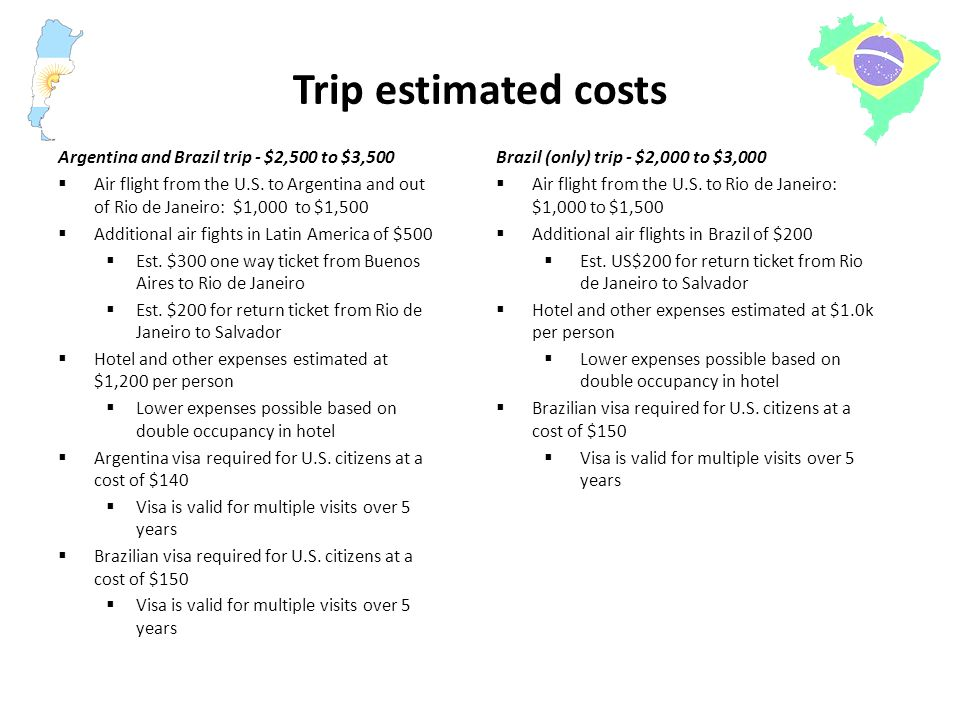 Trip estimated costs Argentina and Brazil trip - $2,500 to $3,500  Air flight from the U.S.